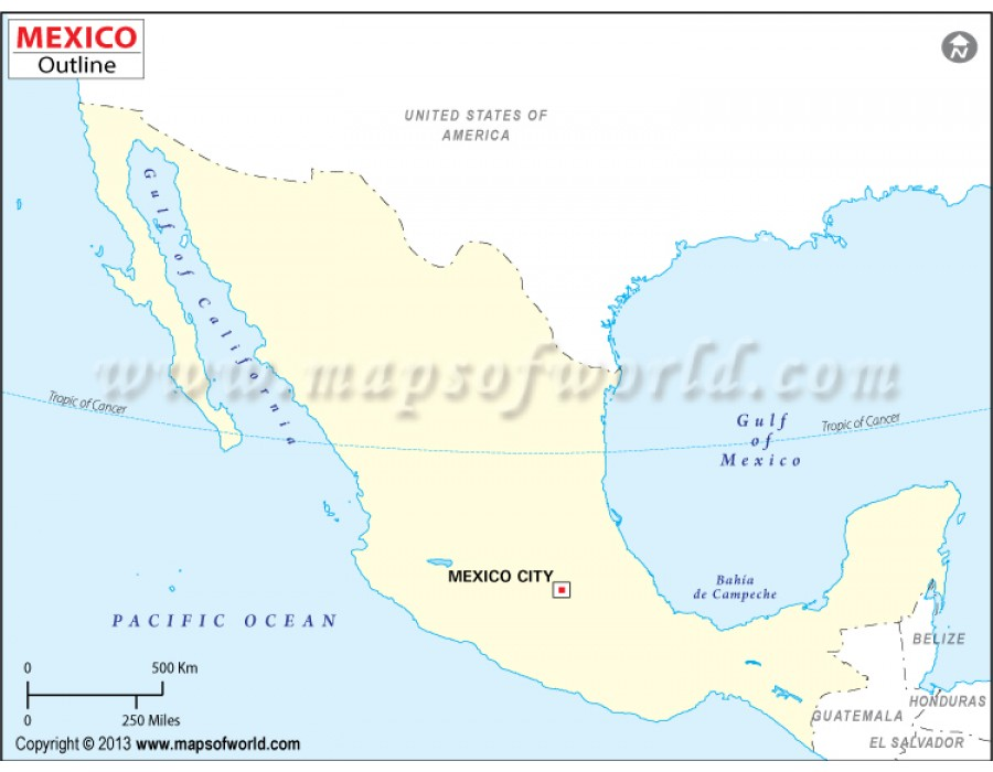 Buy Mexico Outline Map