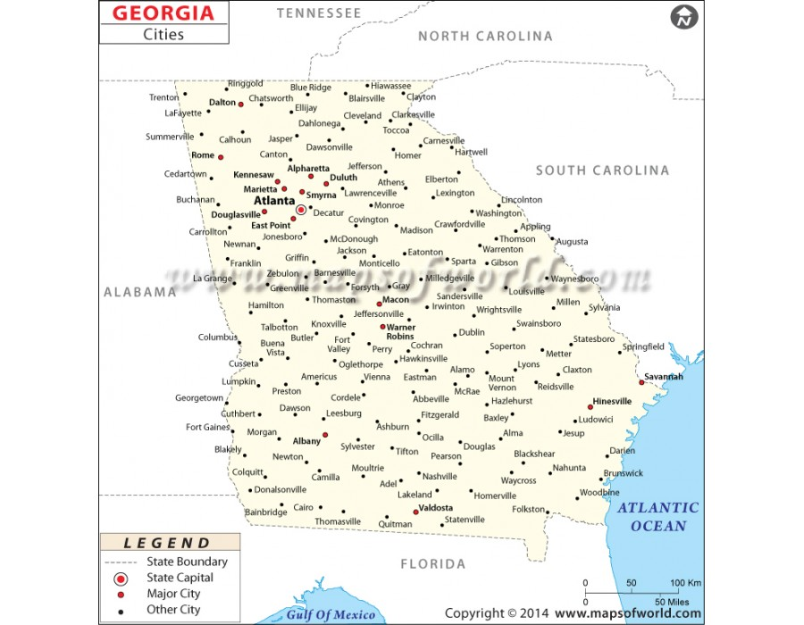 Map Of Georgia Cities.Buy Georgia Map With Cities
