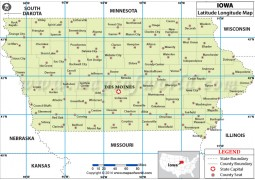 Iowa Latitude Longitude map