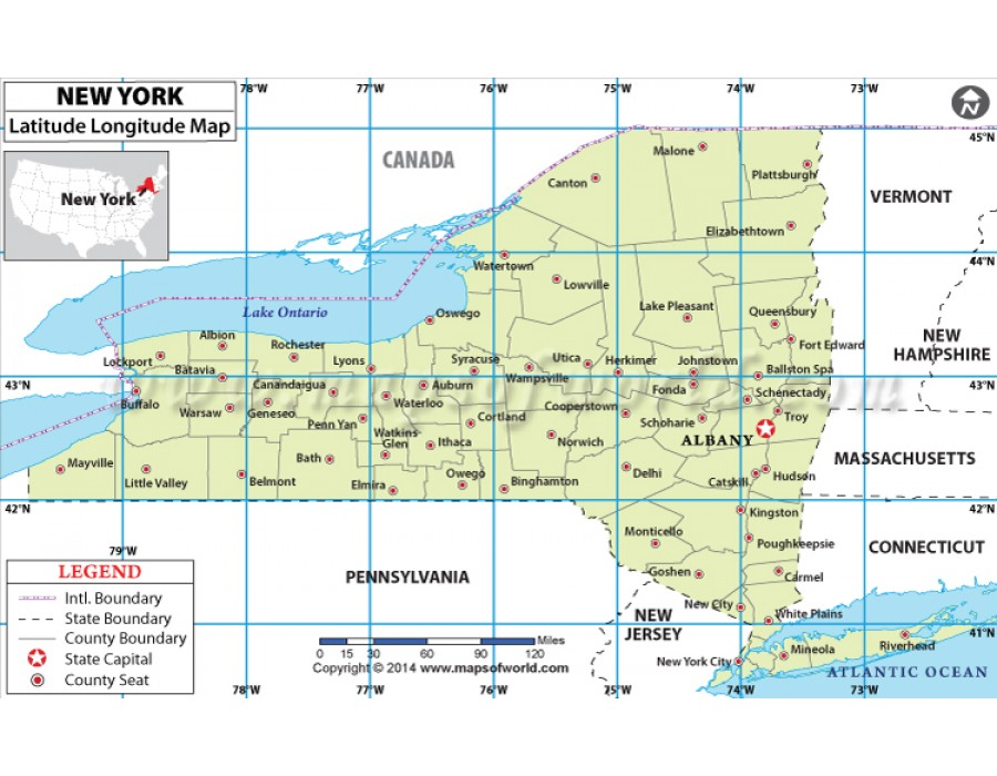 Buy New York Latitude Longitude Map