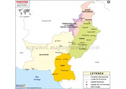 Pakistan Map in Spanish Language
