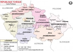 Republique Tcheque Carte Politique-Czech Republic Political Map