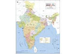 "Wall Map of India - size 27.5"" x 32"""