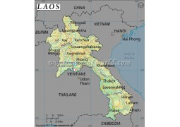 Laos Latitude and Longitude Map