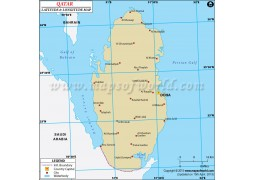 Qatar Latitude and Longitude Map