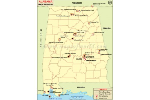 Alabama Major Attraction Map
