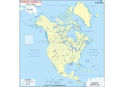 North America Rivers and Lakes Map