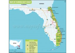 Map of Florida East Coast