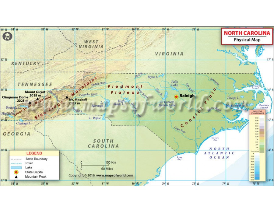 Buy North Carolina Physical Map