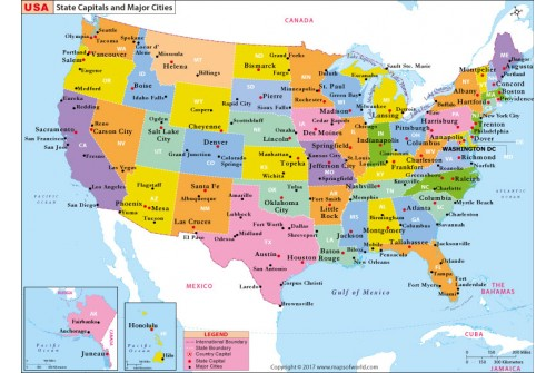 Buy US State Capitals And Major Cities Map Online - Us states major cities map