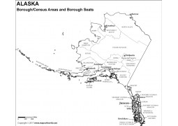 Black and White Alaska Borough Map with Seats