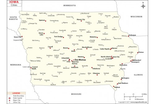 Cities In Iowa Map on
