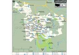 Lancaster City Map, Pennsylvania