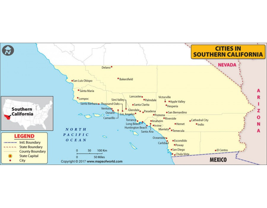 Buy Cities In Southern California Map