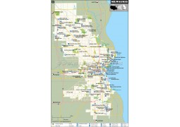 Milwaukee City Map, Wisconsin