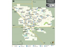 Modesto City Map, California