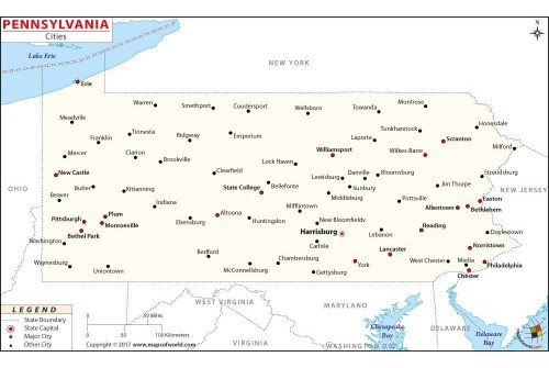 Pennsylvania Map with Cities