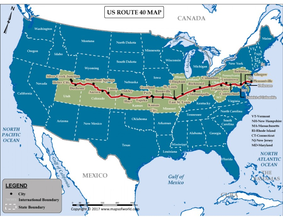 Buy US Route 40 Map
