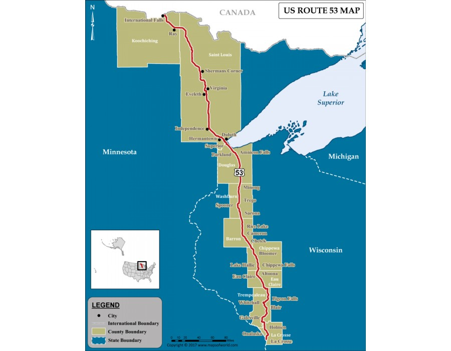 Buy US Route 53 Map