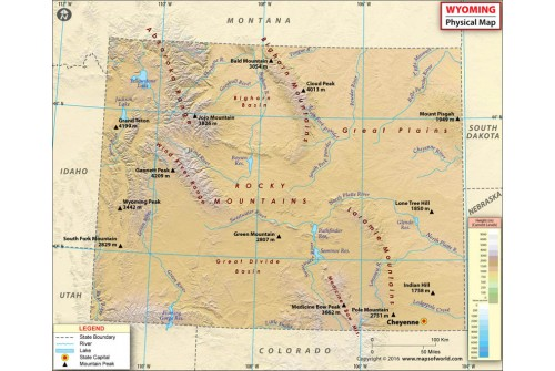 Buy Wyoming Physical Map Online