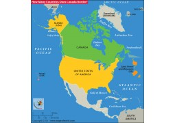 How Many Countries Does Canada Border Map
