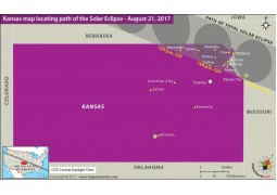 Kansas Map Locating Path of the Solar Eclipse August 21 2017
