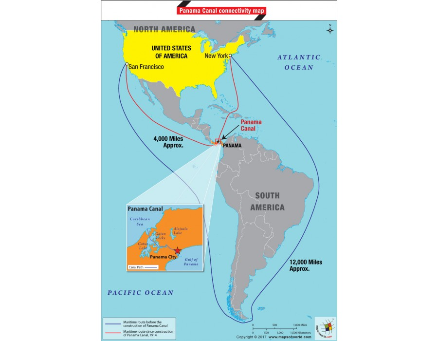 Buy Panama Canal Connectivity Map Online