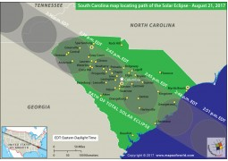South Carolina Map Locating Path of The Solar Eclipse August 21-2017