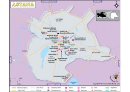 Map of Astana, Capital of Kazakhstan