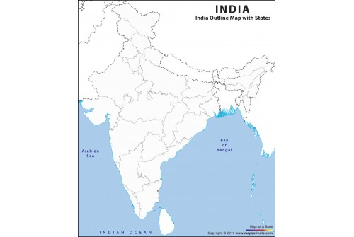 India Outline Map with States