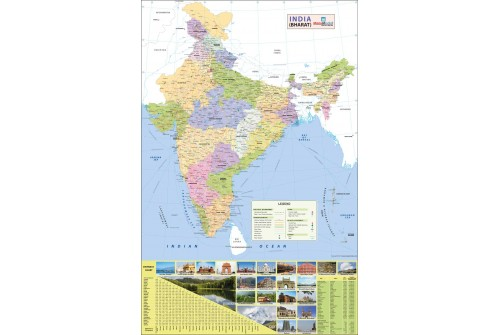 India Wall Map with Distance Chart
