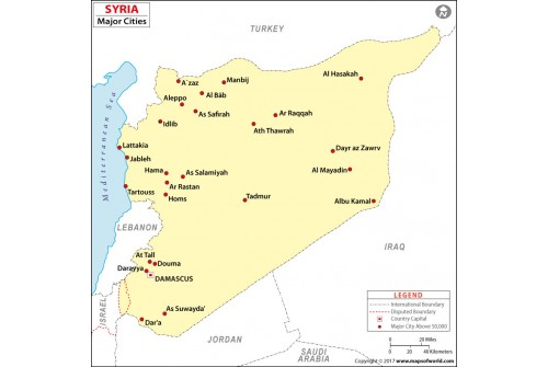 Syria Map with Cities