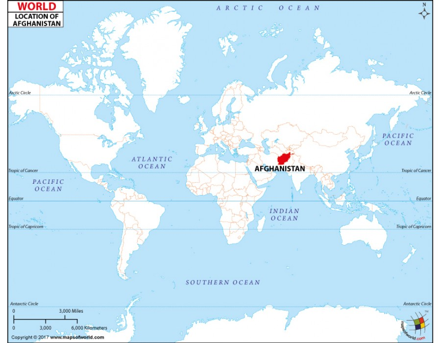 Buy Afghanistan Location on World Map