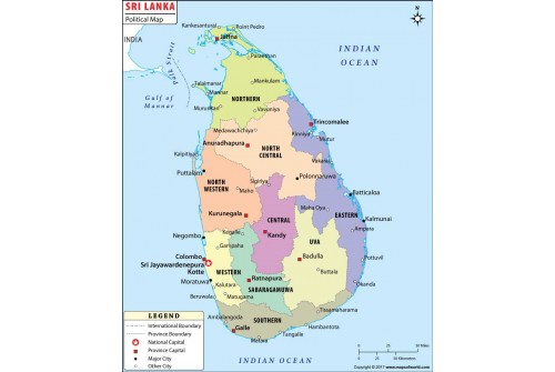 Sri Lanka Political Map.Buy Sri Lanka Political Map