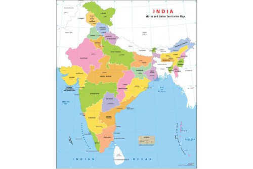Indian States and Union Territories Map
