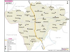 Barmer District Map, Rajasthan