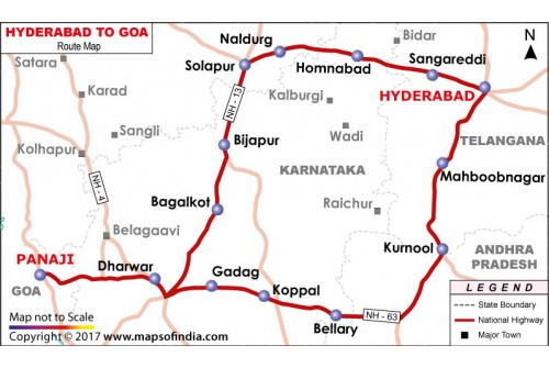 Hyderabad to Goa Route Map