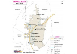 Imphal East District Map, Manipur