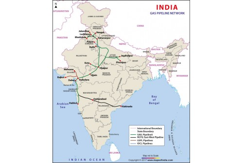India Gas Pipelines Map