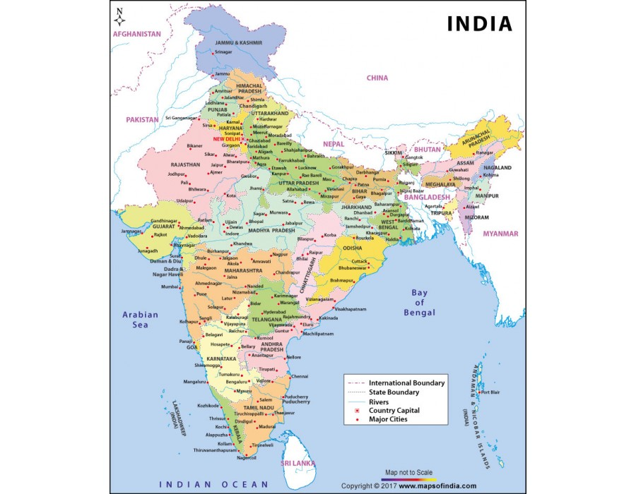 Buy Large Color Map Of India Online