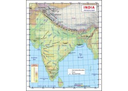 India Physical Wall Map