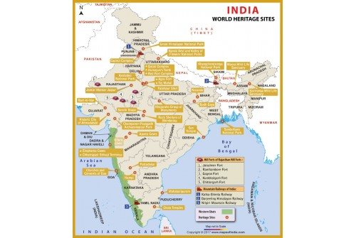 India World Heritage Sites Map