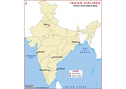 Indian Airlines Office Locations in India Map