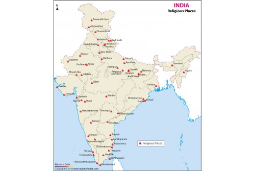 Map of Religious Places in India