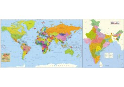 Combo of India & World Political Map on Art Paper