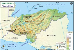 Honduras Physical Map