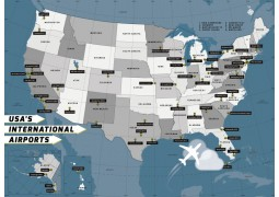 USA International Airports  Map