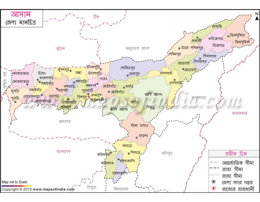 Buy assam district map in bengali language assam district map in bengali language gumiabroncs Gallery