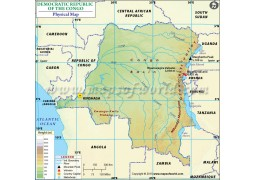 Democratic Republic of The Congo Physical Map