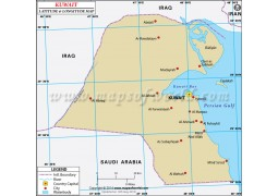 Kuwait Latitude and Longitude Map